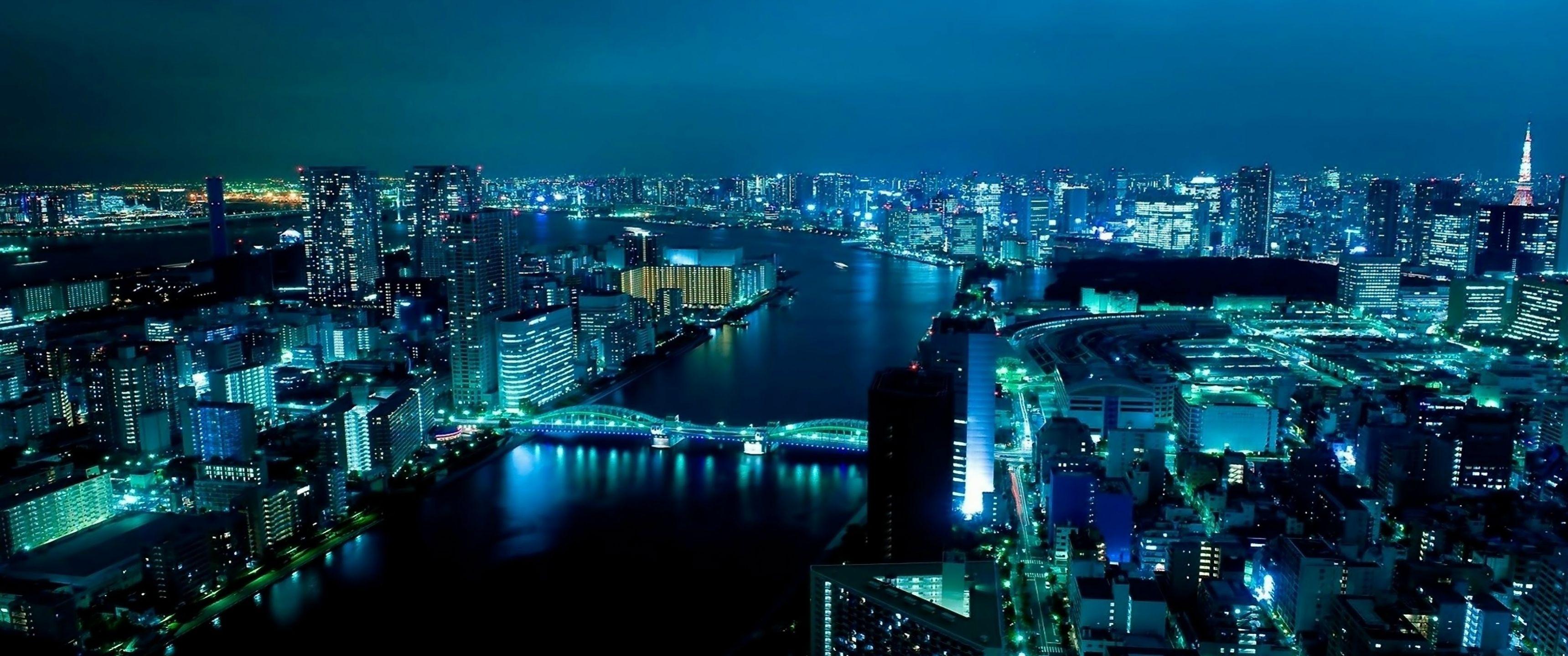 Tokyo City Lights at Night Download 3439x1439