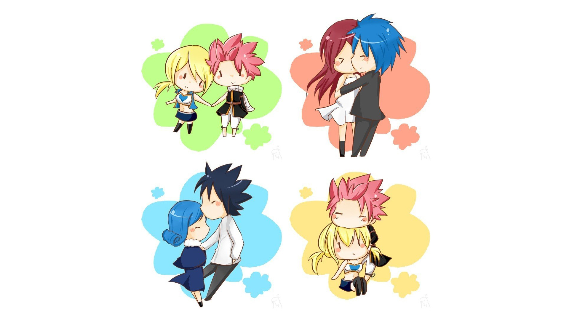 chibi lucy heartfilia and natsu dragneel erza scarlet and jellal 1920x1080