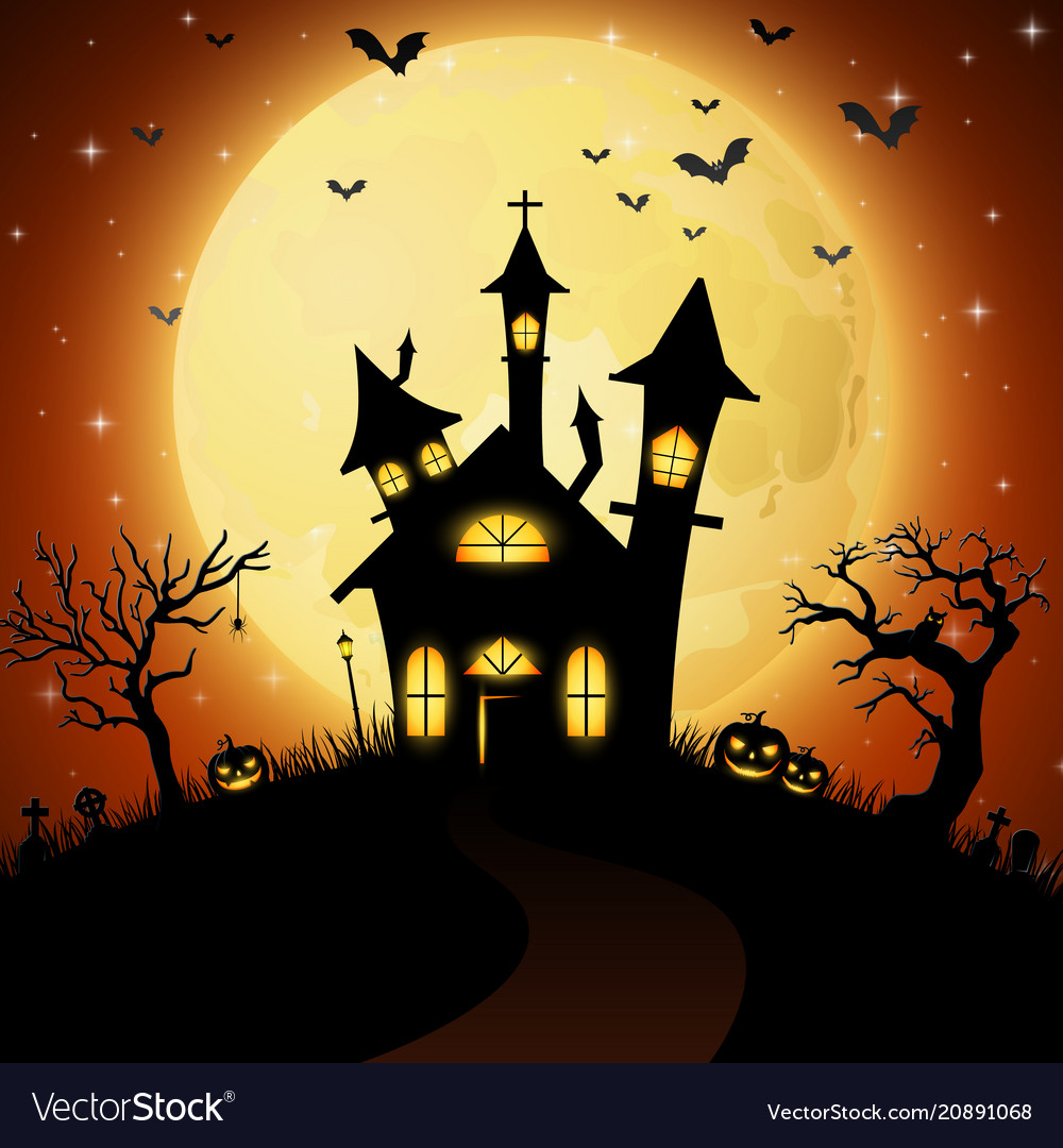 Halloween background with scary church Royalty Vector 1000x1080