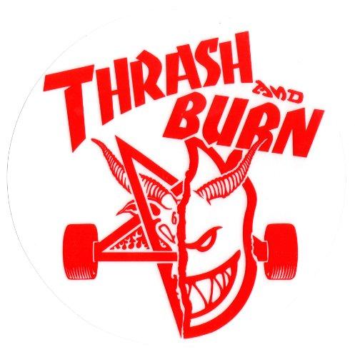 Spitfire Wheels Thrasher Magazine Skateboard Sticker Thrash And Burn 497x500
