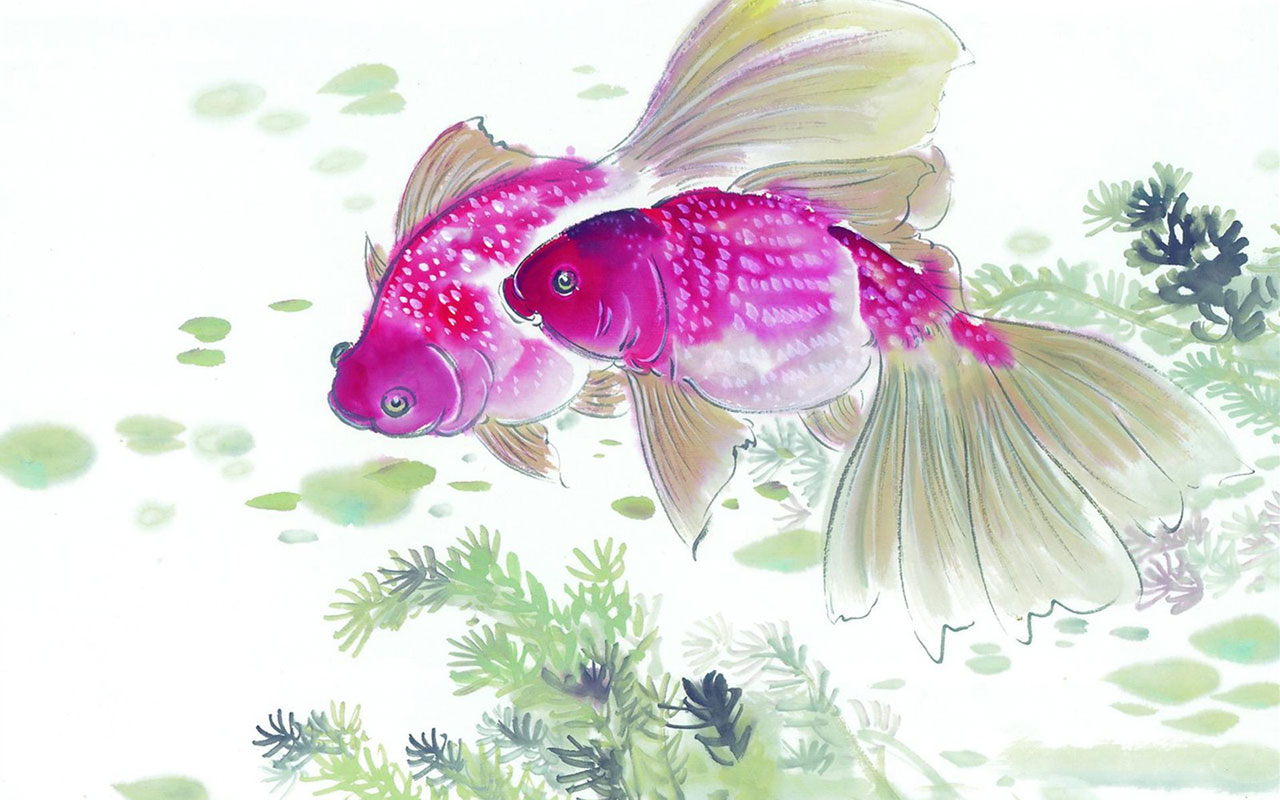 Paintings WallpapersChinese ink painting of the mid Fish Desktop 1280x800