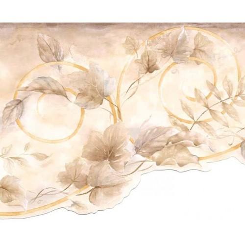Brown Leaf Scroll Wallpaper Border 500x500