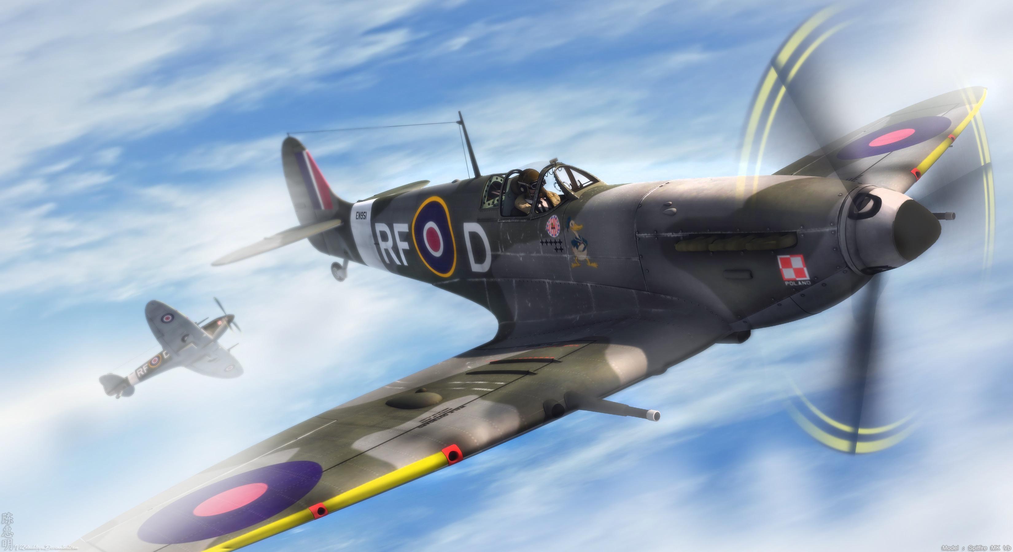 Wallpaper Spitfire aircraft plane clouds desktop 3300x1800