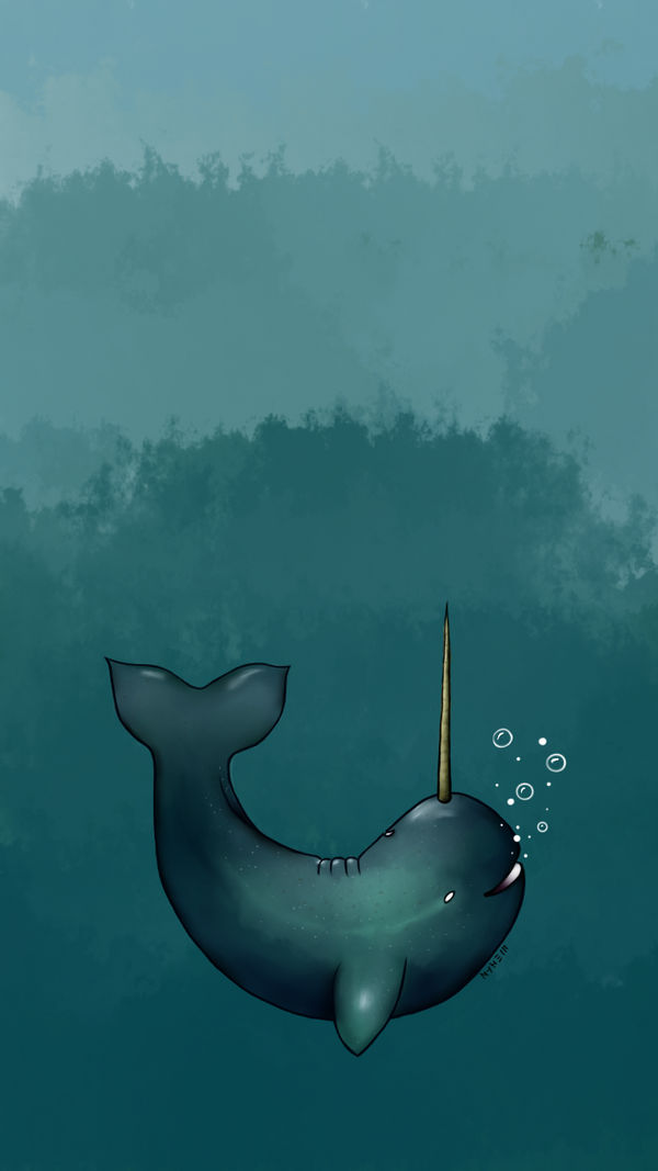 Narwhal Wallpaper by mkinked 600x1067