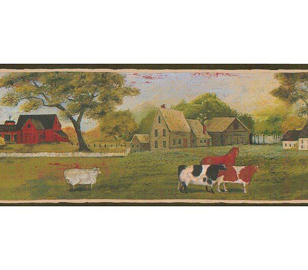 Black and Green Landscape Sheep Wallpaper Border 600x525