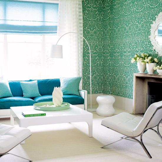 Vibrant damask wallpaper living room Living rooms Living room 550x550