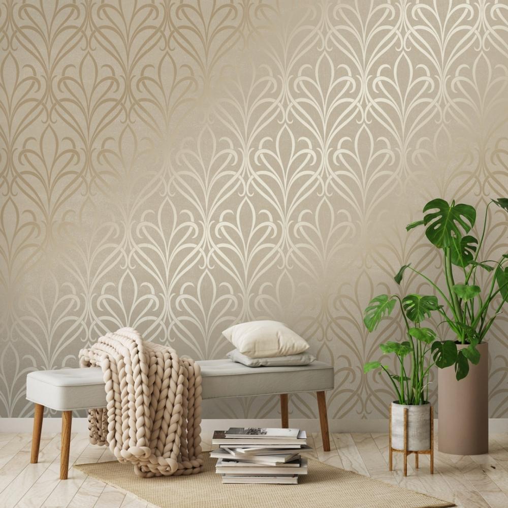 Henderson Interiors Camden Damask Wallpaper Cream Gold   Wallpaper 1000x1000