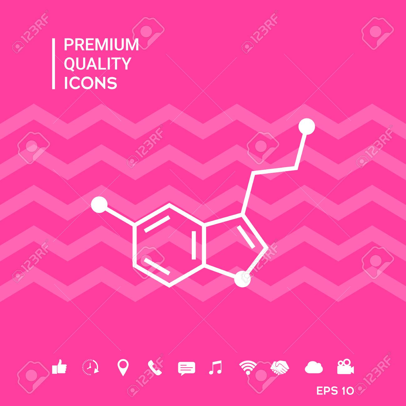Chemical Formula Of Serotonin With Smartphone Tools Icons On 1300x1300