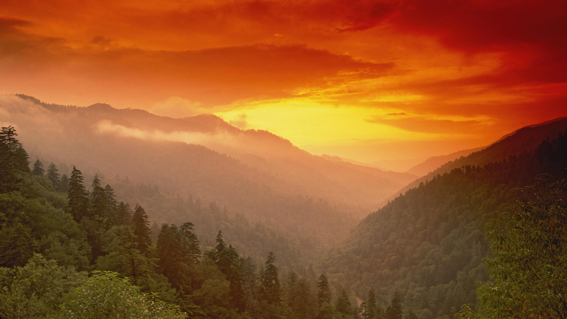 And Wallpaper Sunset From Morton Overlook Great Smoky Mountains 1920x1080