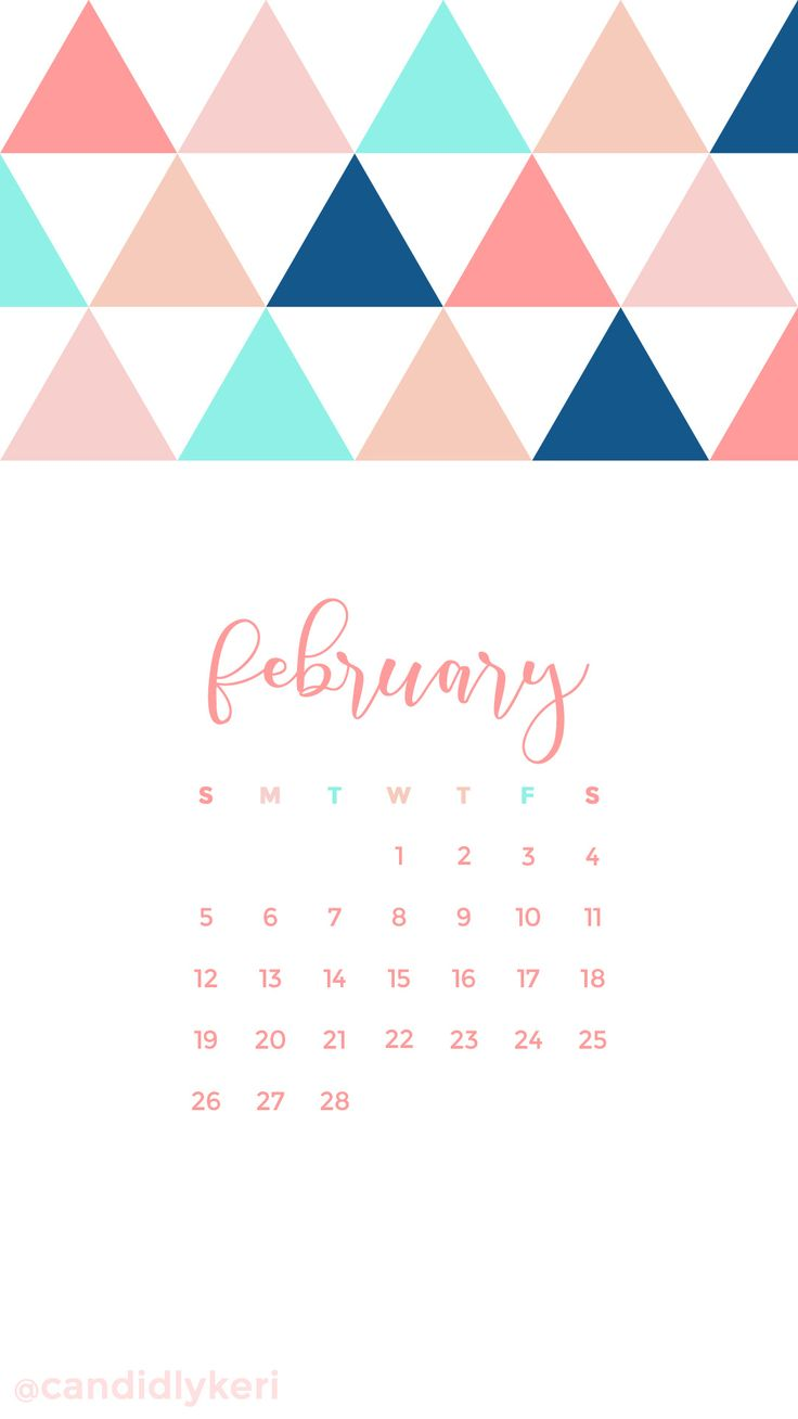 Pink Salmon navy blue turquoise triangle February calendar 736x1308