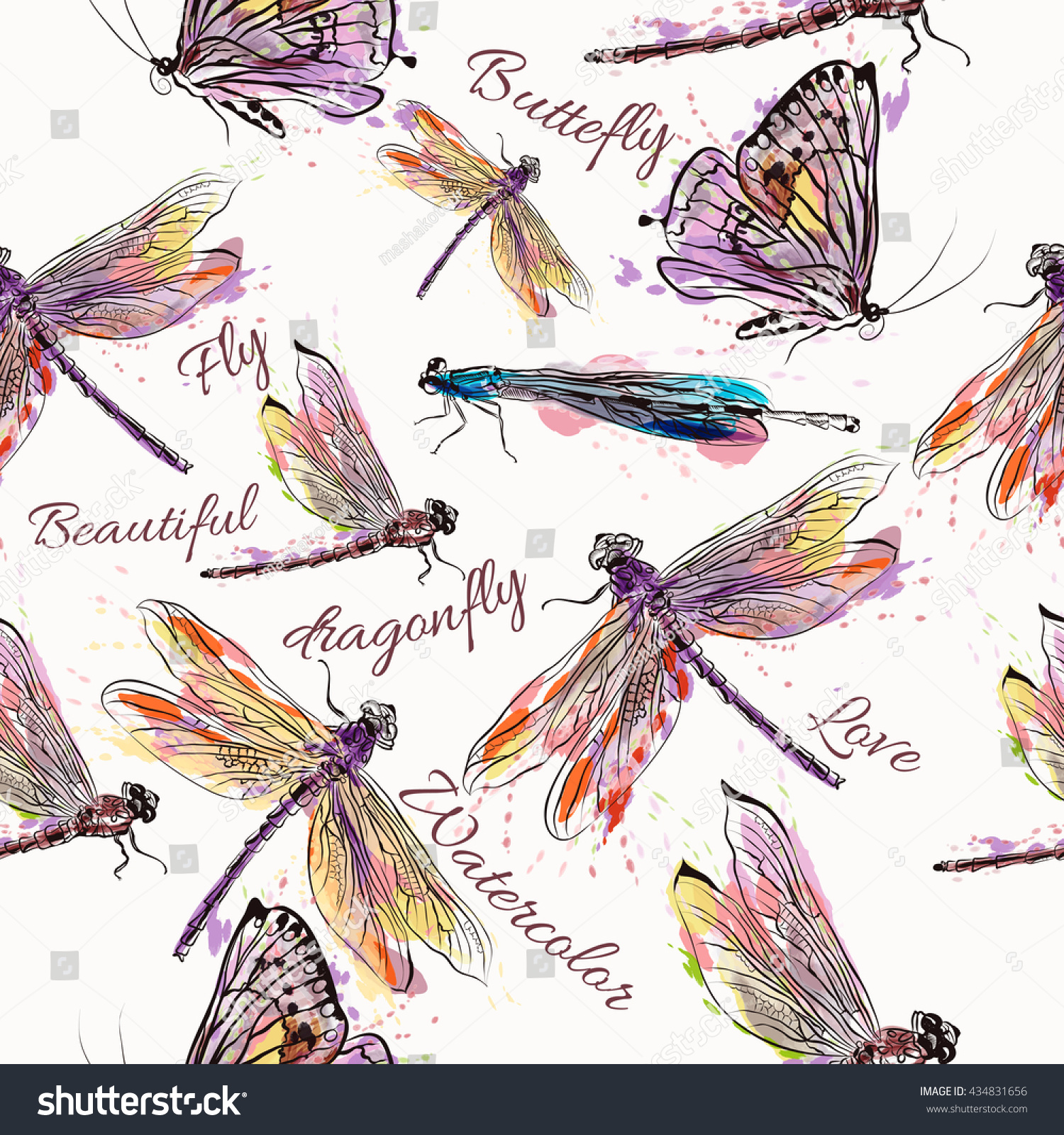 Beautiful Seamless Pattern Background Dragonfly Watercolor Stock 1500x1600
