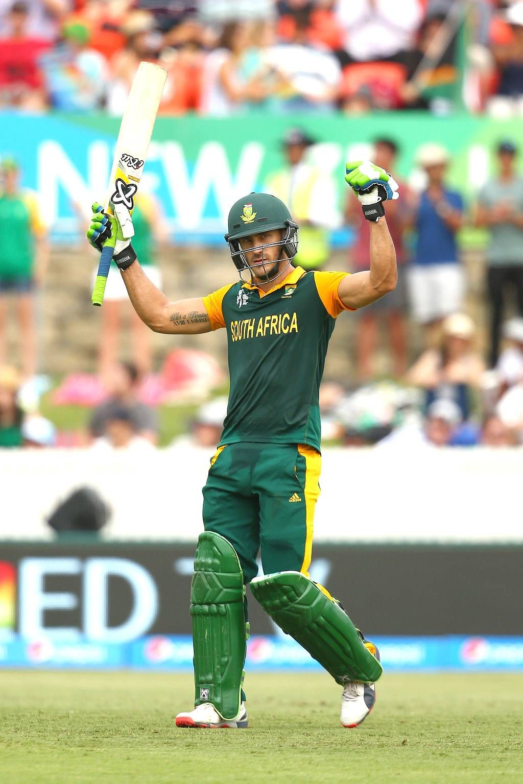 Faf du Plessis of South Africa celebrates his century during the 1024x1536
