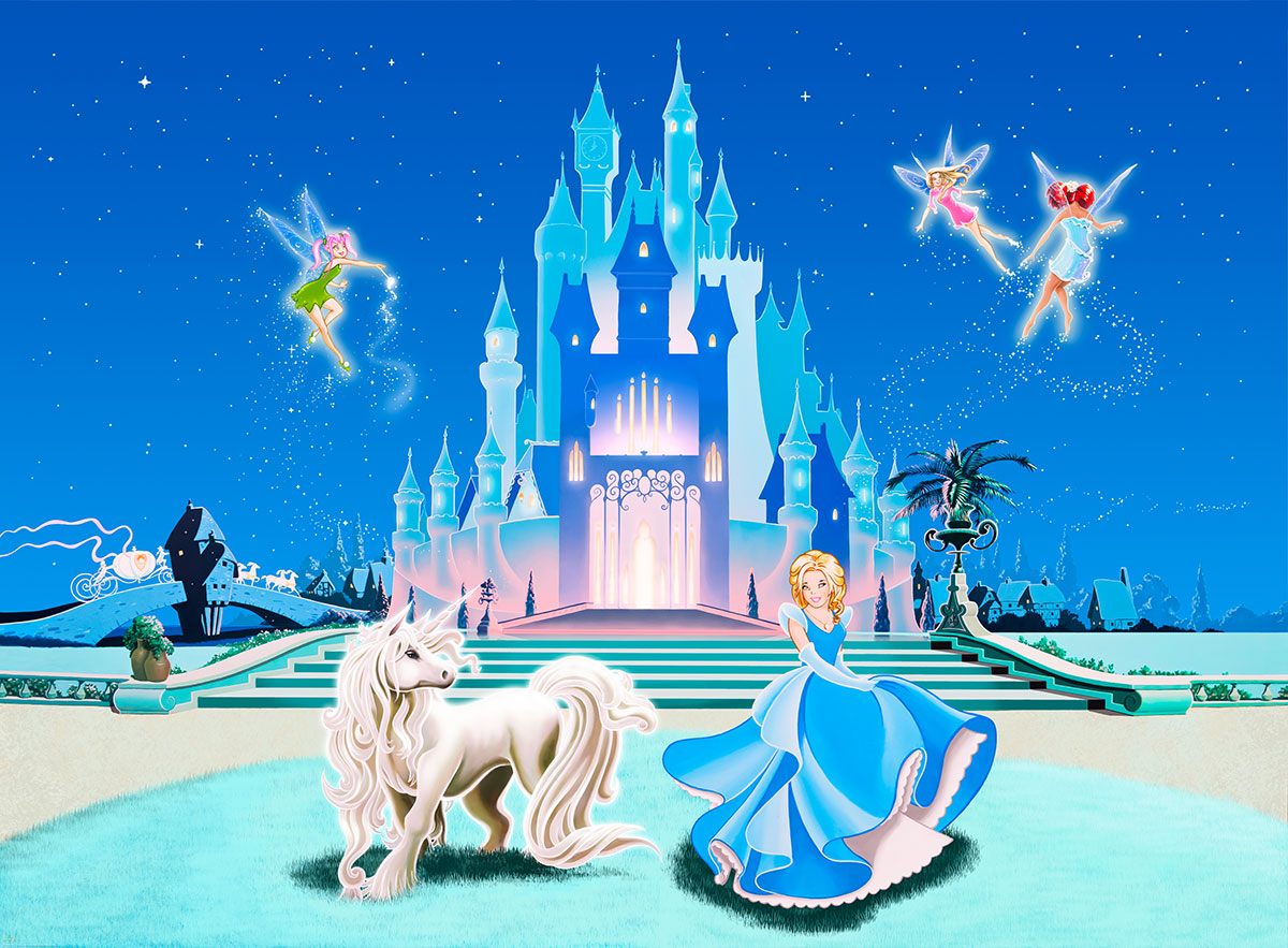 Disney princess castle wallpaper wallpapersafari for Cinderella castle wall mural