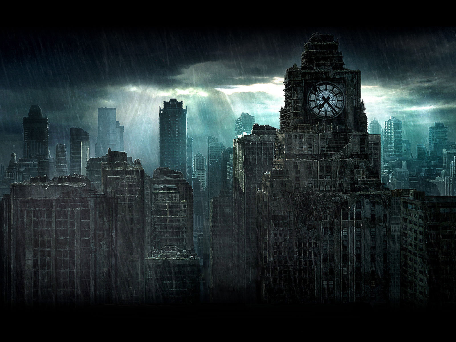 Rain in a destroyed city wallpapers and images   wallpapers pictures 1600x1200