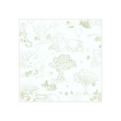 Winnie The Pooh Classic Green Toile Wallpaper Kitchen 500x500