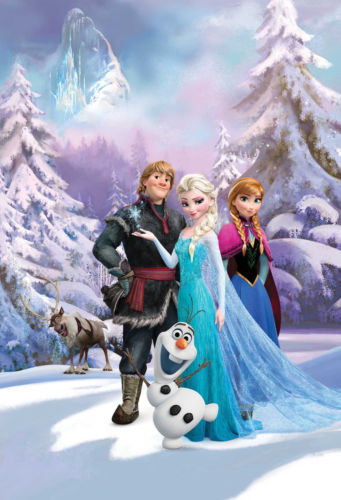 Details about DISNEY FROZEN WALLPAPER MURAL ANNA ELSA SVEN OLAF KIDS 341x500