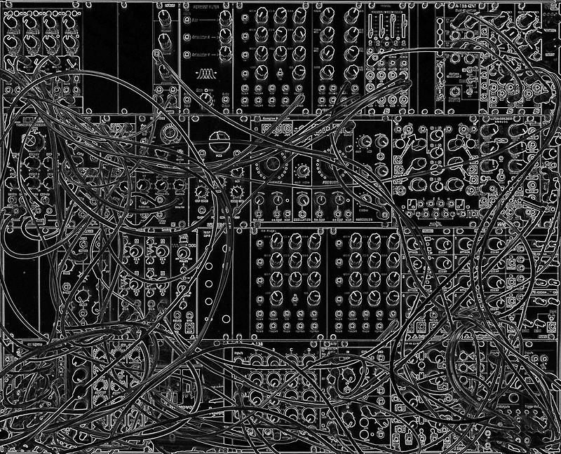 Analog Synthesizer   Modular Design   on black background Art 800x648