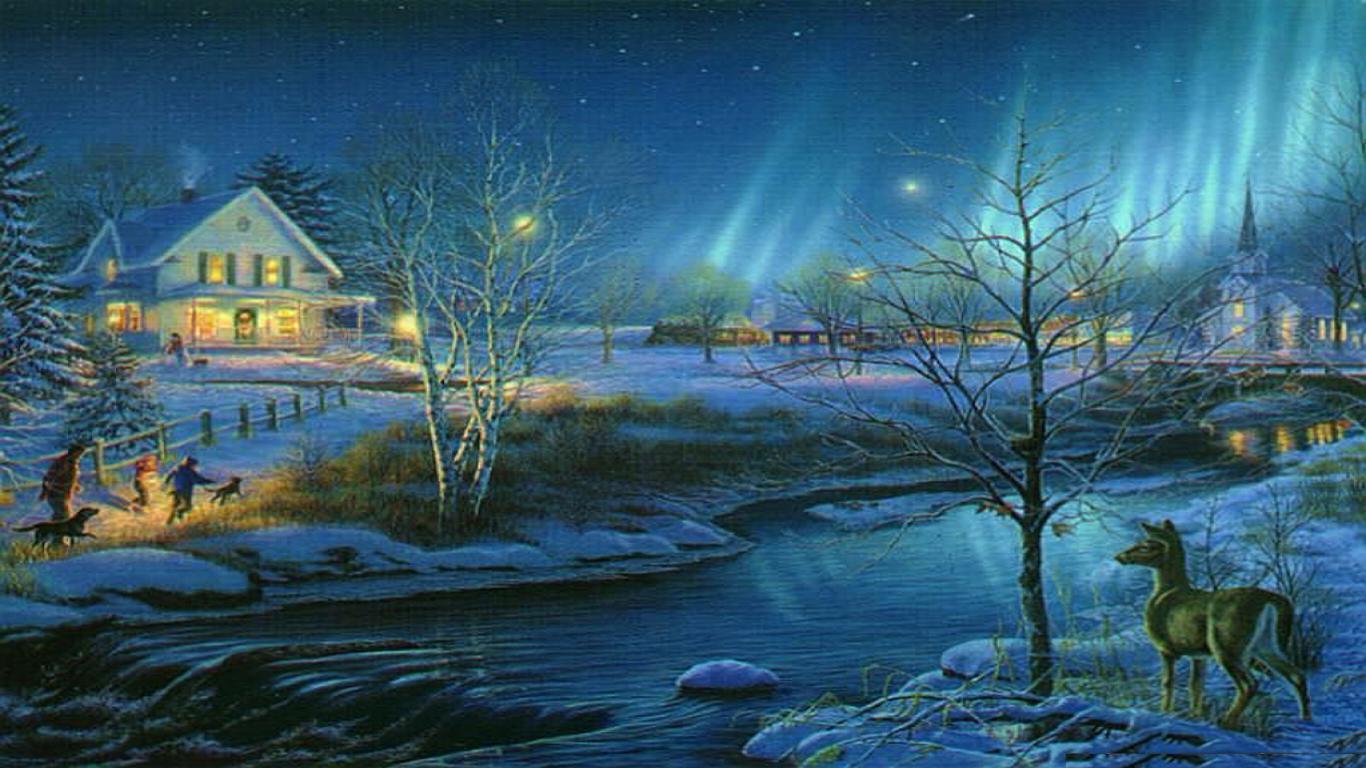 Christmas Village Backgrounds 1366x768