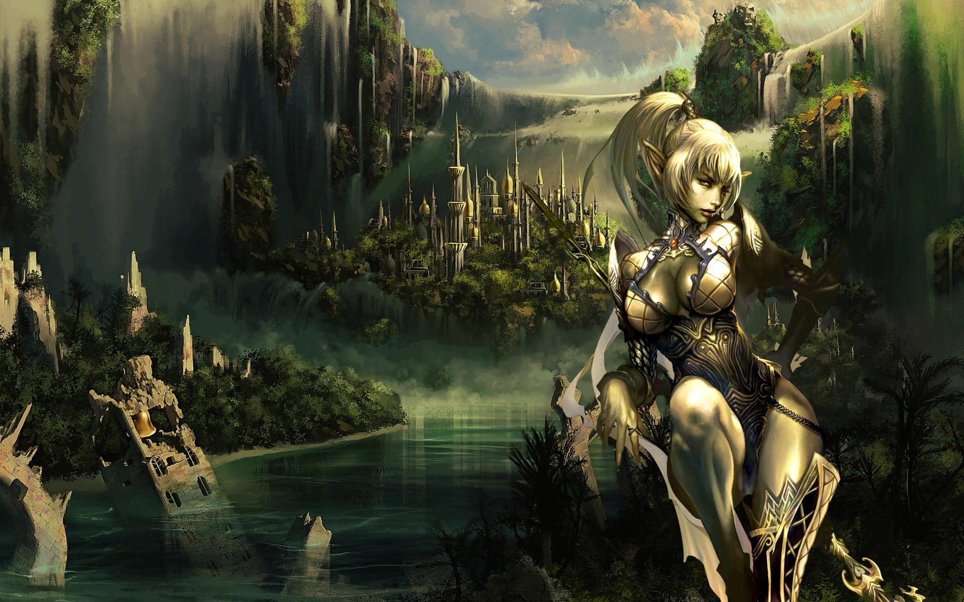 Archer Warrior Elves Fantasy Art Wallpapers Hd: Female Elves Wallpaper