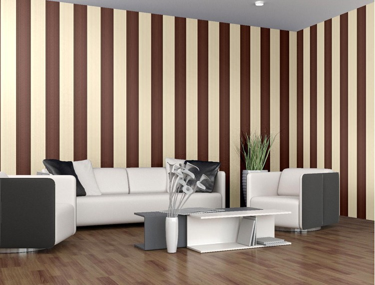 Pareti a strisce p benjamin moore brown wallpaper striped for Carta da parati a strisce