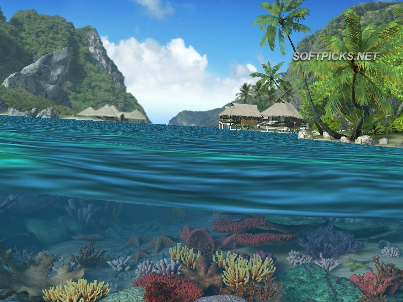Caribbean Islands 3D Screensaver and Animated Wallpaper tela capturada 800x600