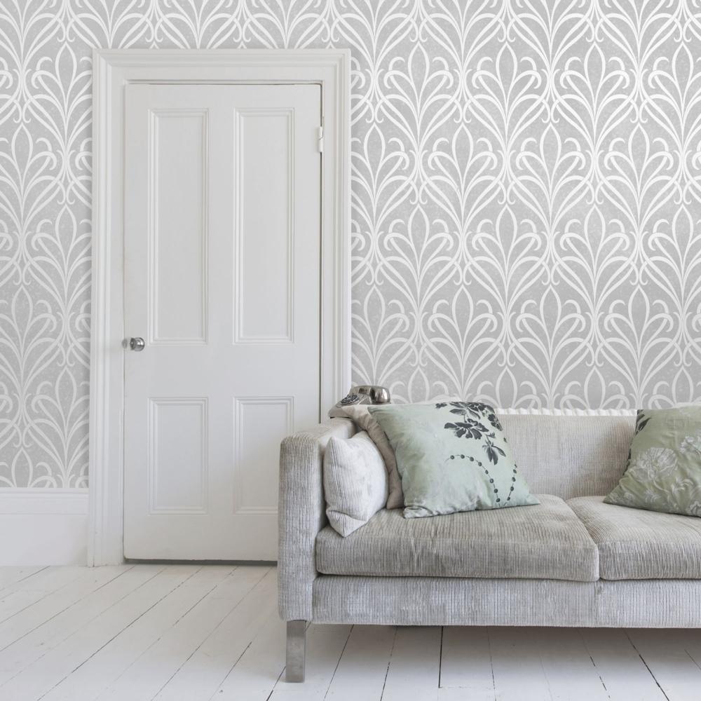 Henderson Interiors Camden Damask Textured Glitter Wallpaper Soft 1000x1000