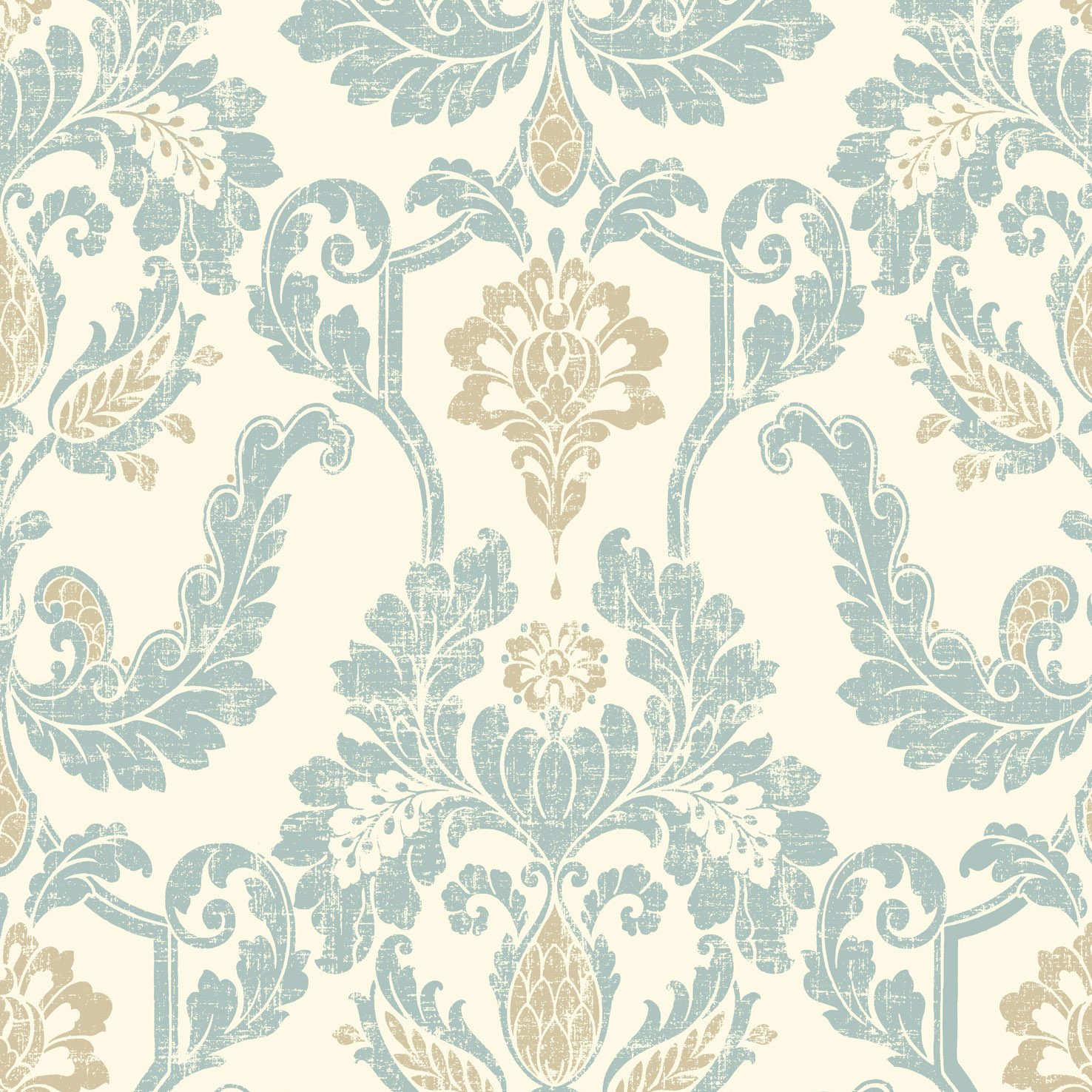 damask with soft blue and gold textured prints on a cream ground 1476x1476