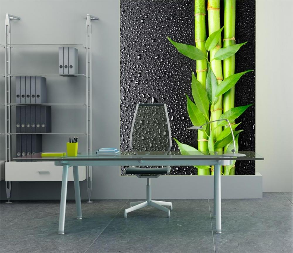 natural home desk office for men design with wallpaper OLPOS Design 1000x862