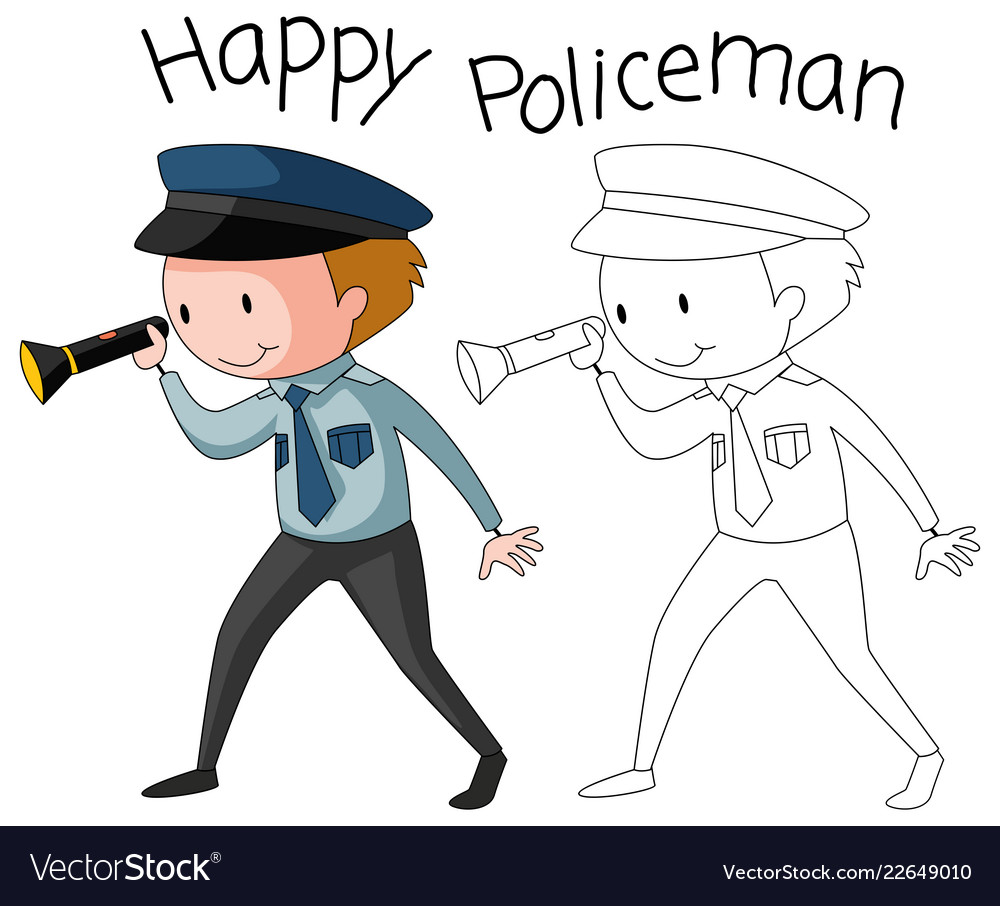 Doodle policeman character on white background Vector Image 1000x906