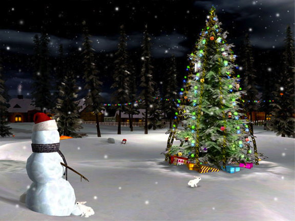 lights on a giant Christmas tree rabbits jumping around and music 576x432