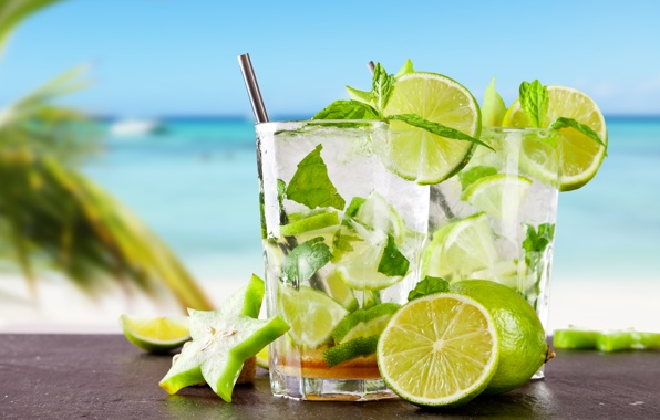 Tropical cocktail mojito drink lime fresh cocktail mojito sea 596x380