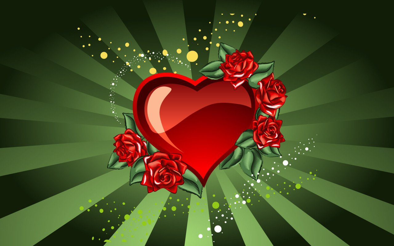 Saint Valentines Day Heart and roses for Valentine s Day 013128 jpg 1280x800