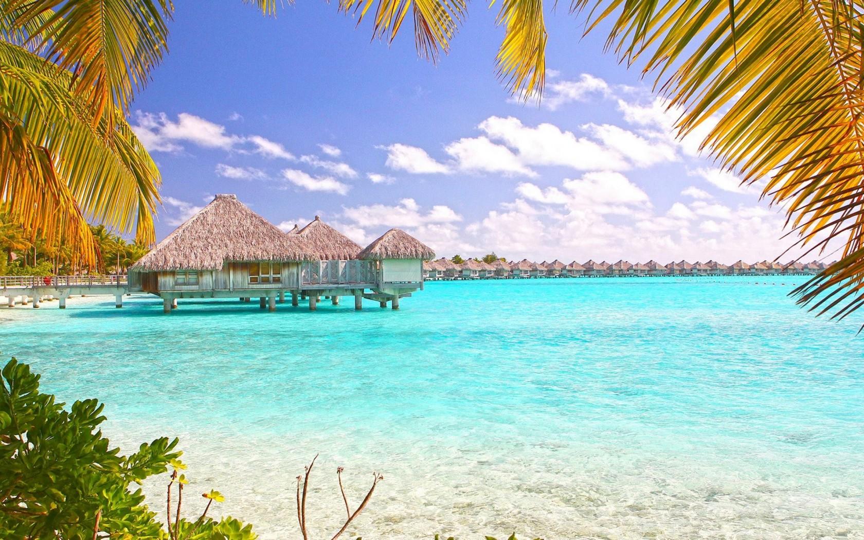 Tropical Beach Bora Bora Polynesia Desktop Wallpaper 1680x1050