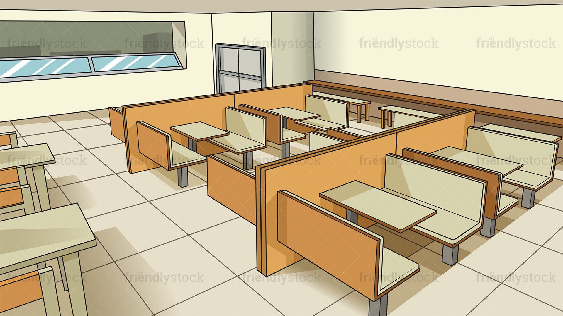 High School Cafeteria Background Cartoon Vector Clipart 1920x1080