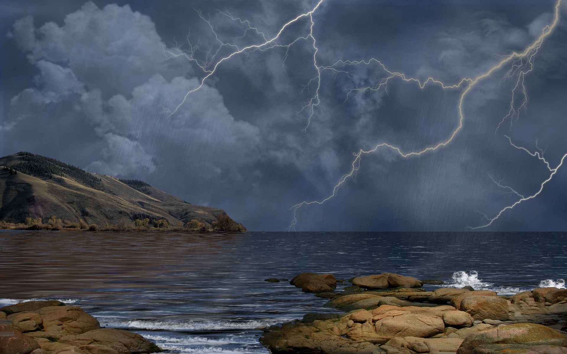 Lightning thunderstorm Landscape Wallpaper Desktop Background ...