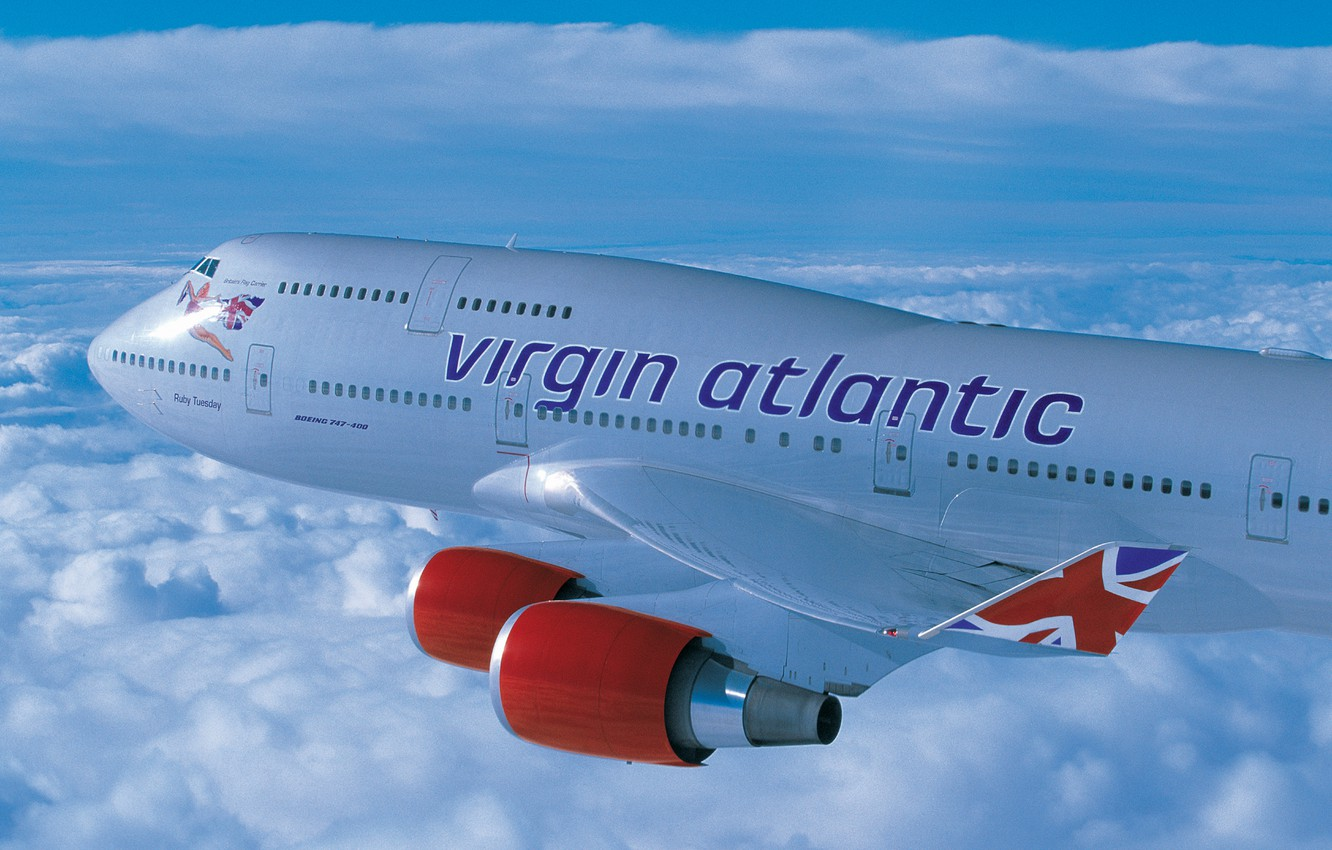 Wallpaper clouds height Boeing flight virgin atlantic 400 B 1332x850