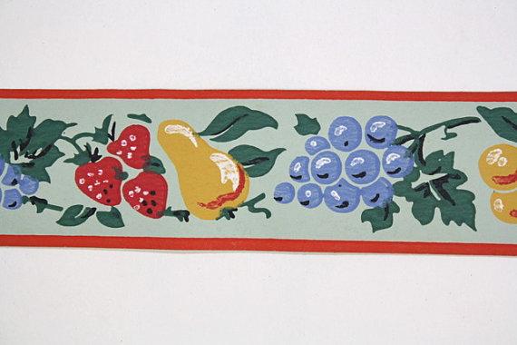 Full Vintage Wallpaper Border  TRIMZ   Fruit Kitchen Border 570x380
