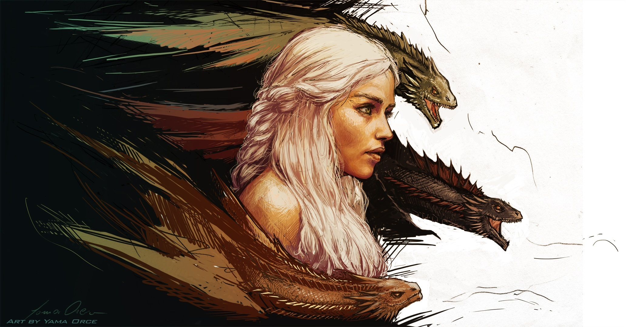 Game of thrones Daenerys Targaryen art fantasy dragon dragons 2064x1080