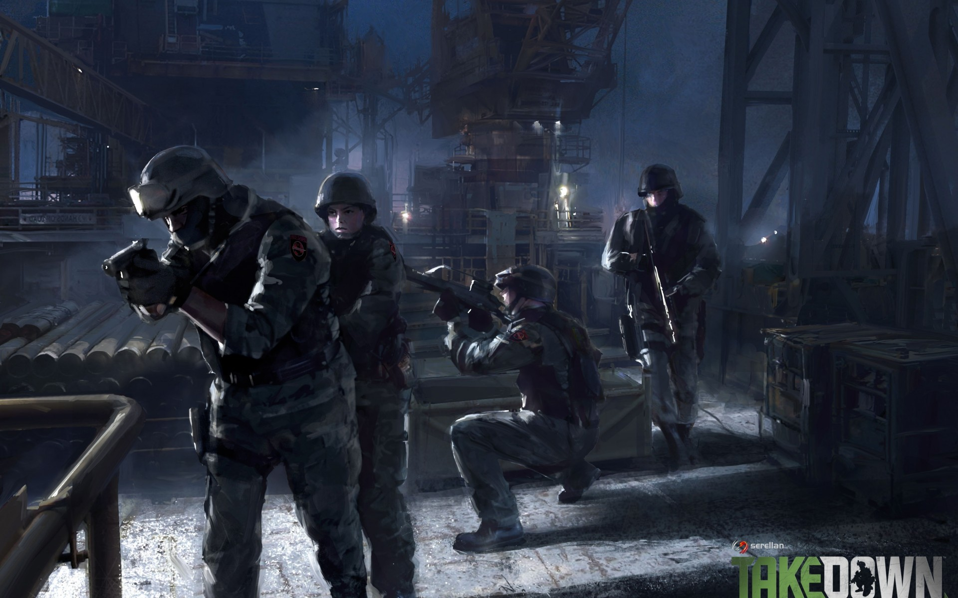 soldiers police swat street night weapons guns wallpaper background 1920x1200