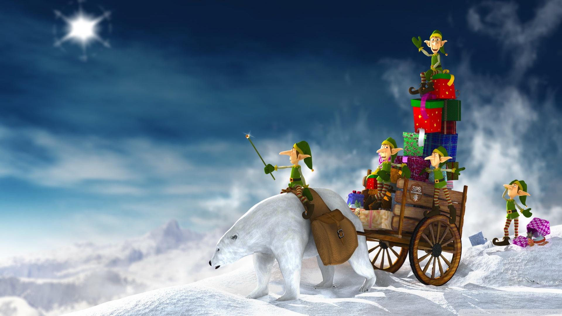 Christmas Elves 3D 4K HD Desktop Wallpaper for 4K Ultra HD TV 1920x1080