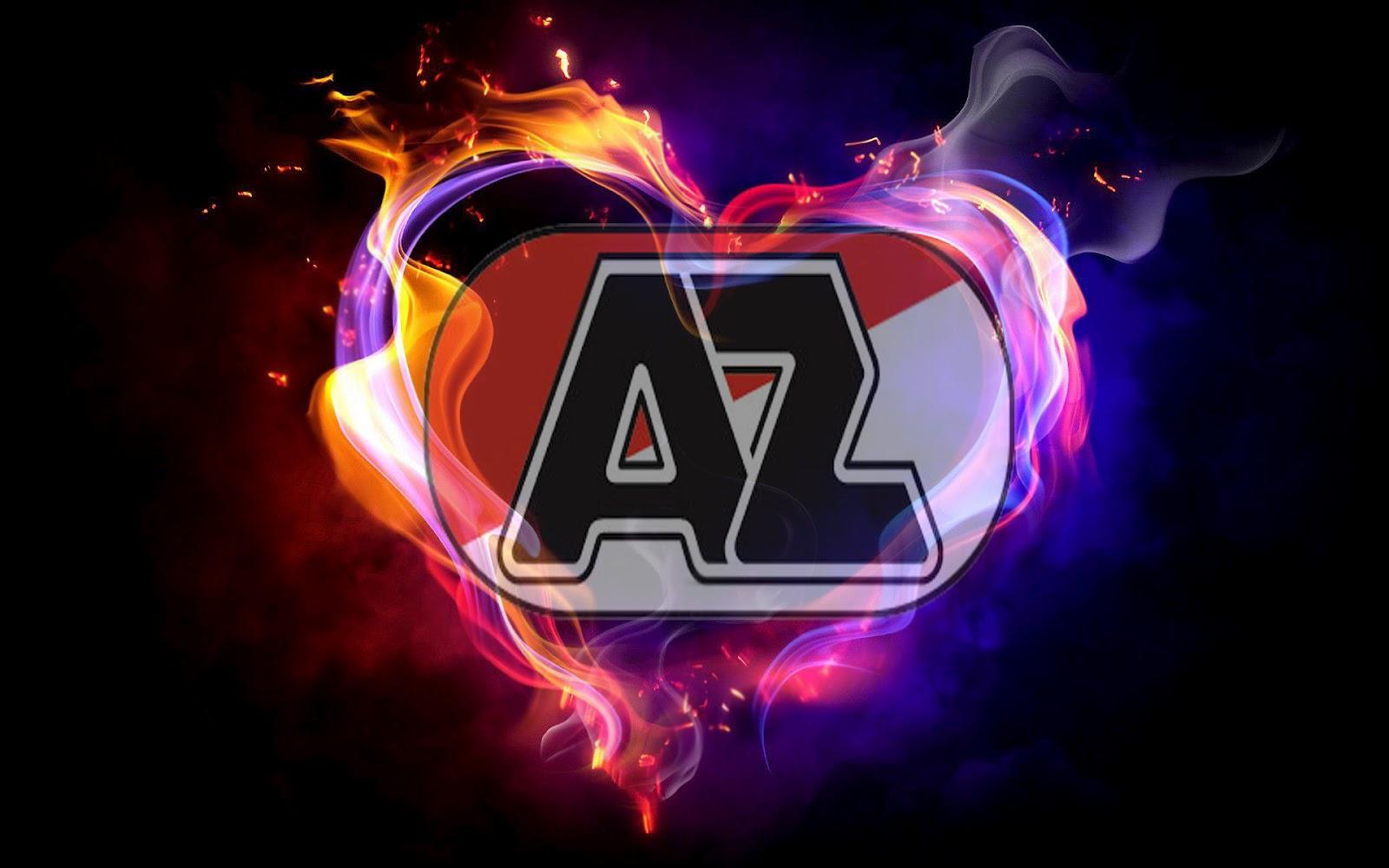 Unieke zwarte AZ wallpaper met AZ logo en liefdes hart van vuur en 1600x1000