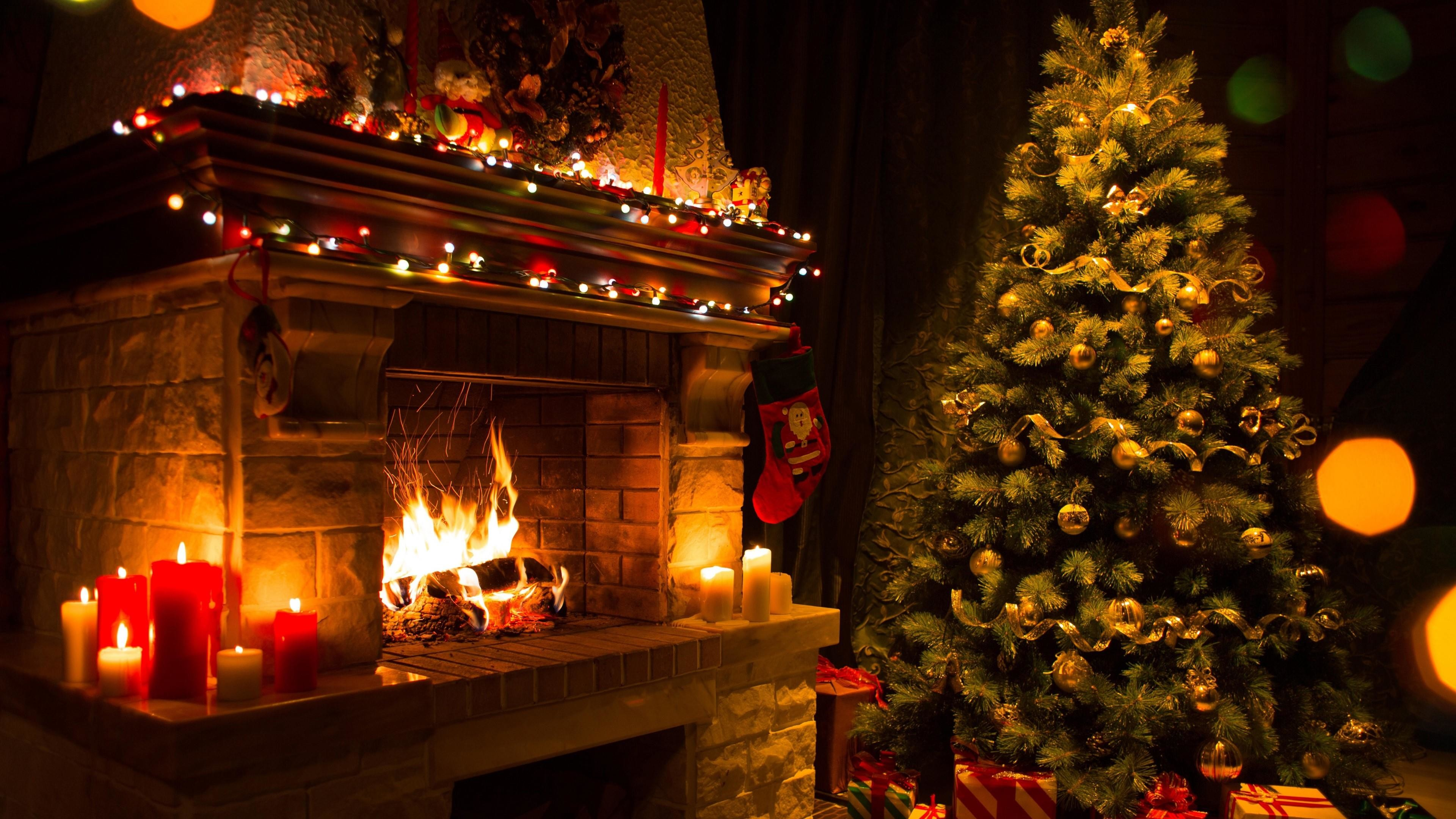 Christmas Fireplace Wallpaper 57 images 3840x2160