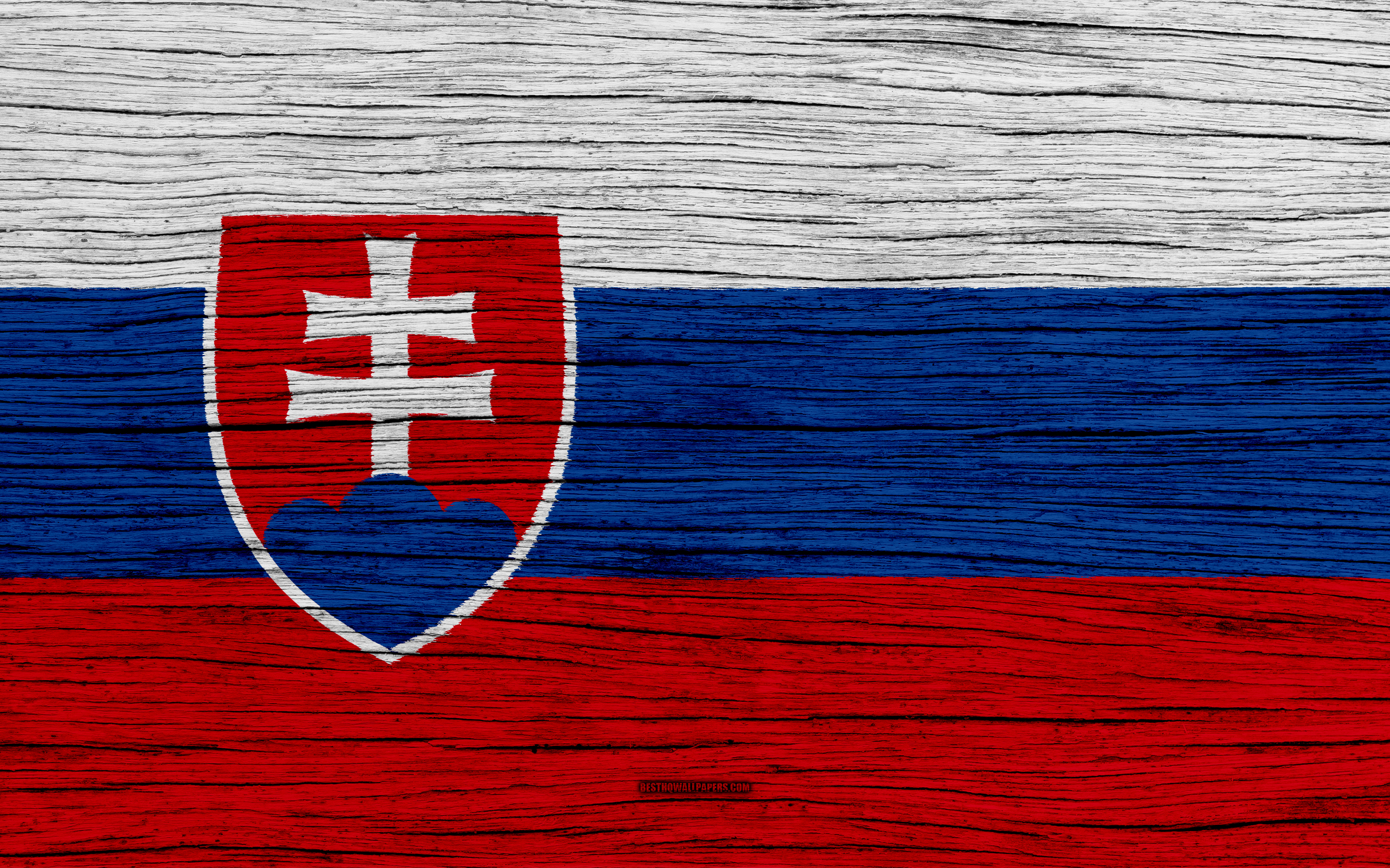 Download wallpapers Flag of Slovakia 4k Europe wooden texture 3840x2400