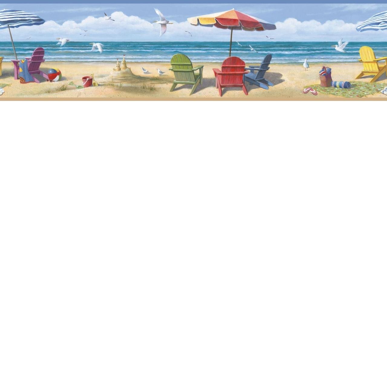 Coastal Waters Volume II Beach Summer at the Beach Wallpaper Border 1280x1280