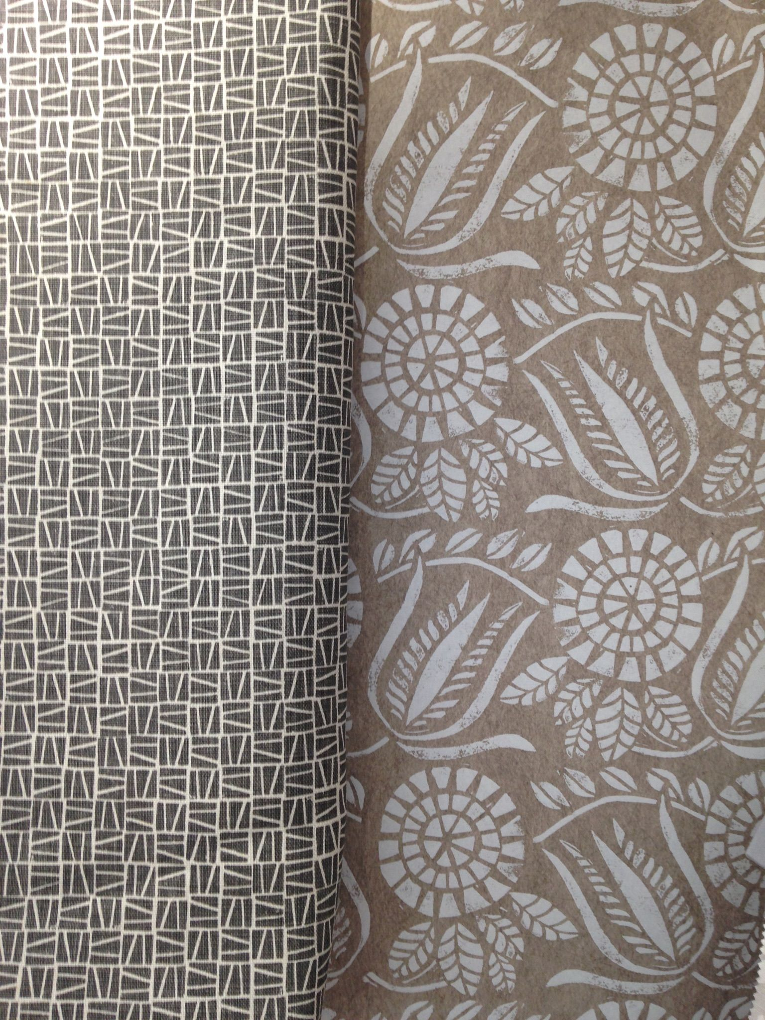 Camber hand printed in grey on linen and Bloomsbury Wallpaper in 1536x2048