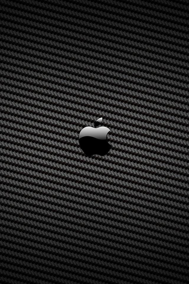 Carbon Fiber Apple Logo iPhone 4 Wallpaper and iPhone 4S Wallpaper 640x960