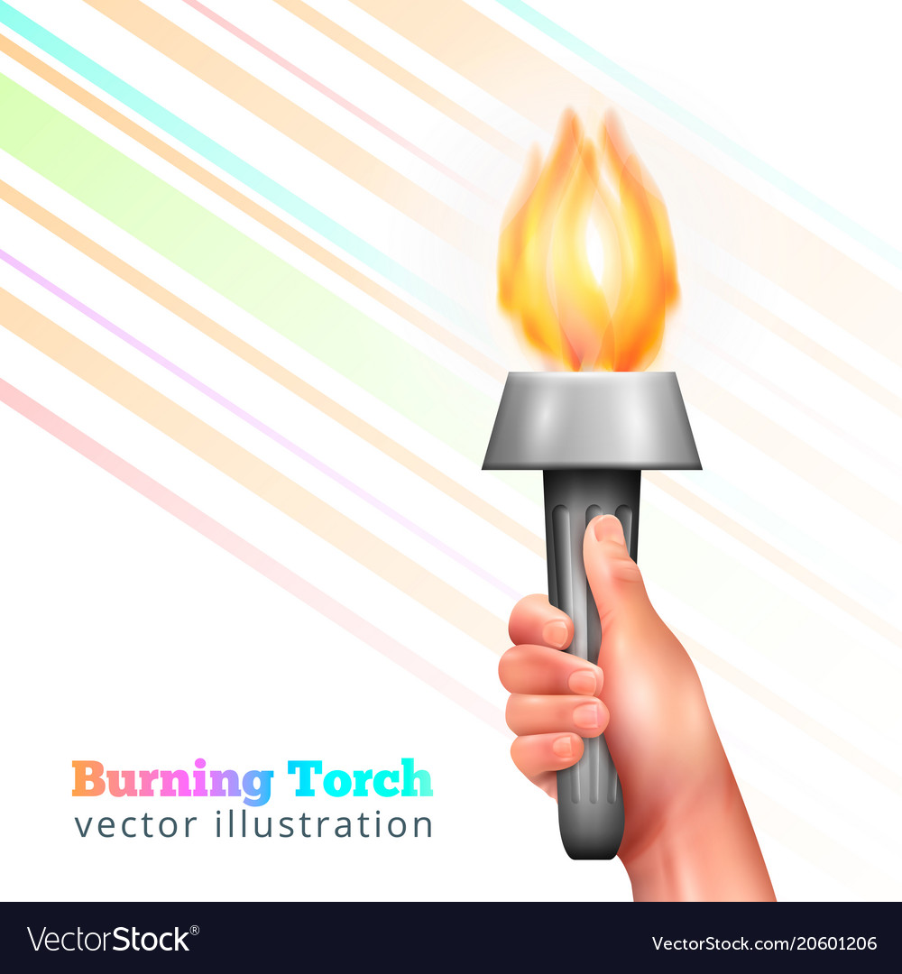 Realistic hand torch background Royalty Vector Image 1000x1080