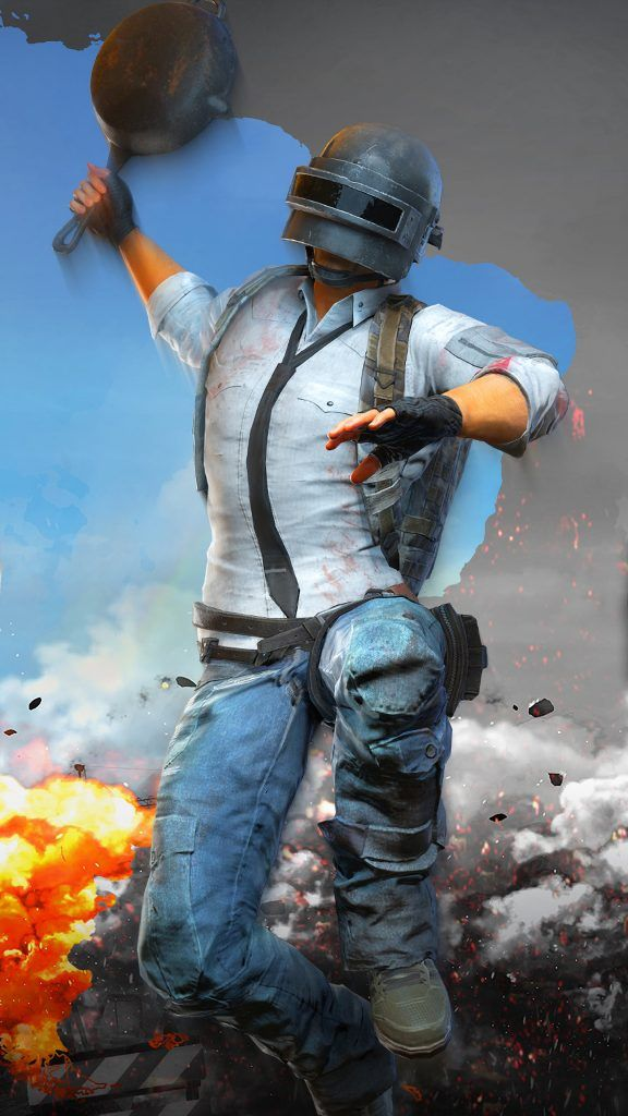 PUBG Helmet Guy Attacking With Pan pubg Gaming wallpapers Hd 576x1024