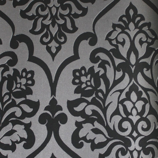 Black and Dark Grey Damask Wallpaper   Contemporary   Wallpaper   by 640x640