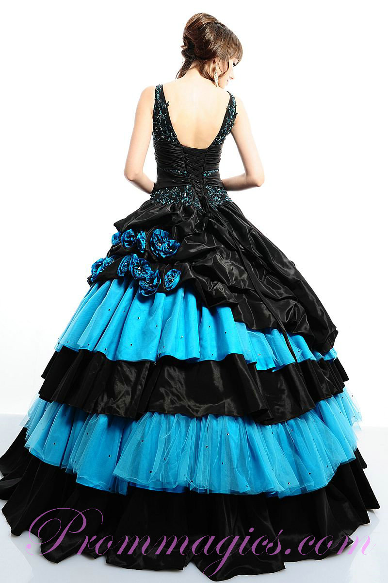 Low Back Flowers Trimmed Tulle Black and Blue Quinceanera Dresseshtml 800x1200